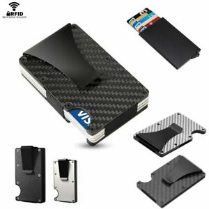 Kreditkartenetui-Carbon-Slim-Metall-Kredit-Karten-Geldklammer-Clip-Blocker-RFID
