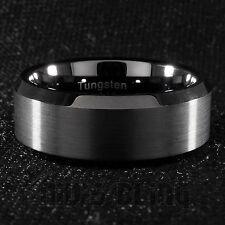 8mm Tungsten Carbide BLACK Wedding Band Polished Engagement Bridal Ring Men
