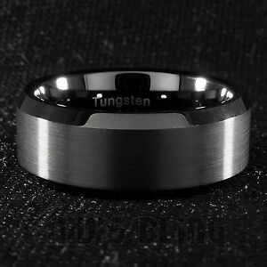 Image Is Loading 8mm Tungsten Carbide Black Wedding Band Engagement Bridal