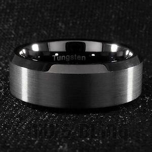 8mm tungsten carbide black wedding band engagement bridal