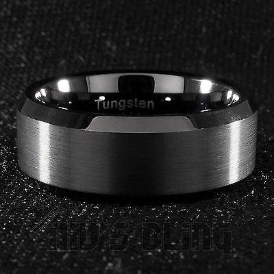8mm Tungsten Carbide BLACK Wedding Band Engagement Bridal Ring Gunmetal Men