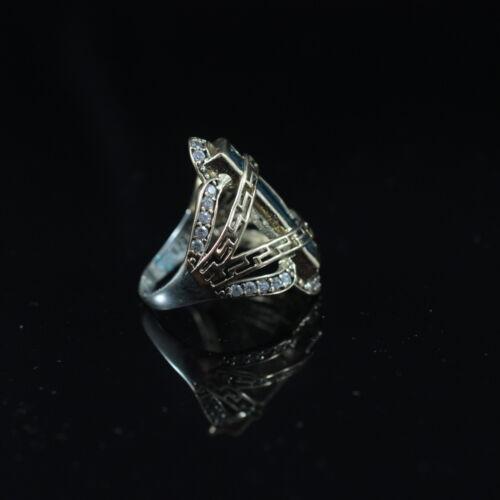 Magnifique Aqua Marine argent sterling 925K Bronz Ring Taille 7,8,9 turc