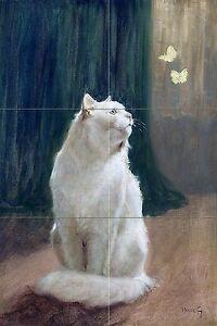 White cat and butterflies A. Heyer kitten Tile Mural Backsplash Marble Ceramic