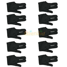 10PC Cue Billiard Pool Shooters 3 Fingers Nylon Gloves Universal Free Size Black