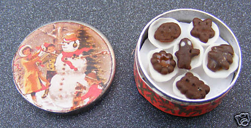 1:12 Scale Full Snow Man Biscuit Tin Tumdee Dolls House Kitchen Accessory Bt17c