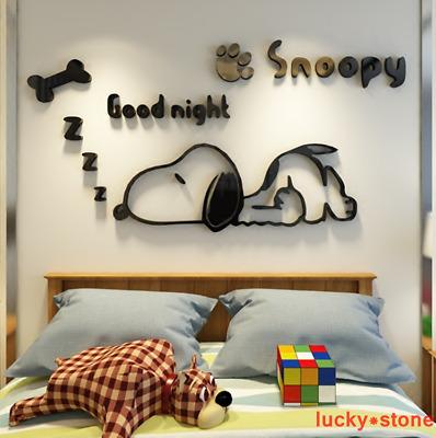 Wall Decal Cartoon Snoopy 3D DIY Kids Room School Stickers Acrylic Pmma Mural