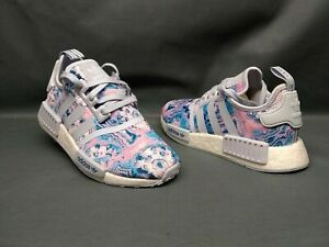 Adidas Nmd R1 J Athletic Sneakers Mesh White Pink Easter Girls