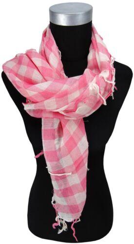 Tuch Größe 100 x 100 cm Halstuch in rosa weiß kariert mit Fransen