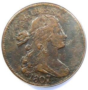 1807/6 Draped Bust Large Cent 1C Coin S-273 - ANACS VF30 Details - Rare Overdate
