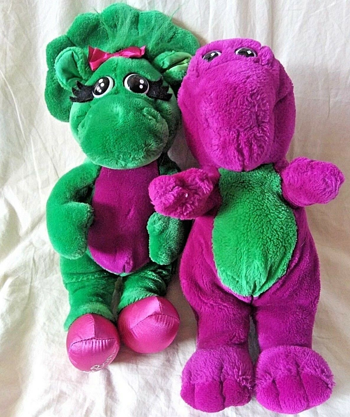 Vintage 1992 Barney The Purple Dinosaur 14  Baby Bop Green 16  Tall Lyons Group