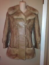 MURRAY KARG FURS MINK AND LEATHER BEIGE COAT JACKET SIZE XS-SMALL.