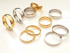 Stainless-Steel-Plain-or-Gold-IP-Polished-Wedding-Band-Ring-3mm-4mm-5mm-6mm-8mm
