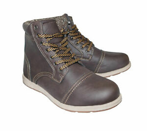 Herren-Stiefel-Winterschuhe-Kunstleder-Boots-Schuhe-braun