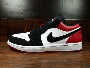 Air-Jordan-1-Low-Retro-AJ1-noir-TOE-Blanc-Noir-Rouge-553558-116-Homme