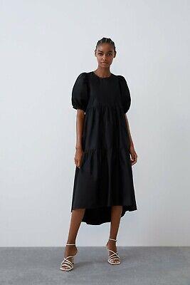ZARA NEW WOMAN MIDI RUFFLED POPLIN DRESS LOOSE FIT V-NECK BLACK XS-XXL 0387//170