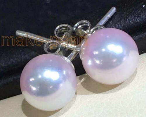 Grade Perfect Round White Akoya pearls Stud earring Details about  /Match 6.7mm AAA