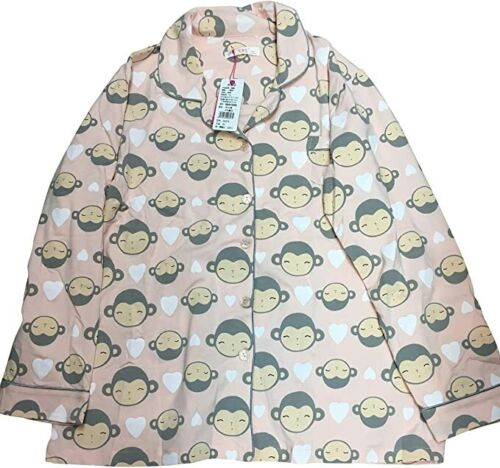 Ladies Quality Cheeky Monkey Peach Cotton Pyjamas Top and Bottoms Size 10-12