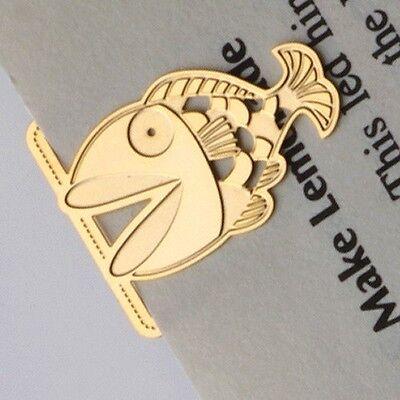 Cute mini metal GOLDEN GOLDFISH in Jungle 18k Gold Plated Bookmark Stationery