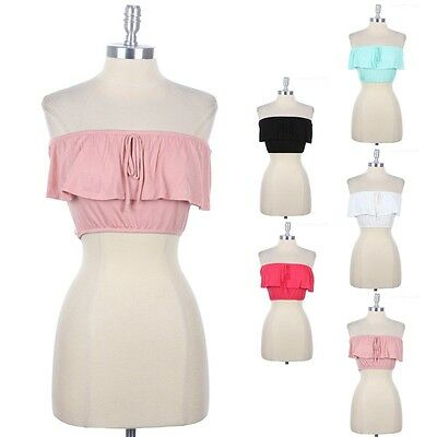 Solid Plain Sexy Strapless Front Ruffle Cropped Bandeau Casual Easy Wear S M L