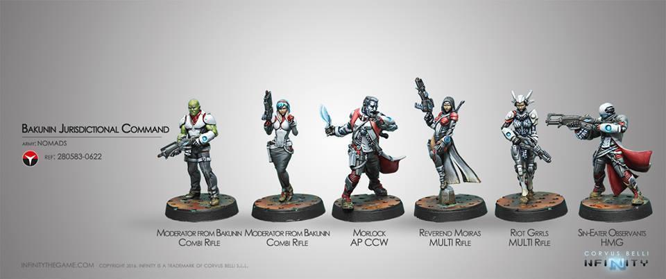 Infinity Corvus Belli Bakunin Jurisdictional Command Nomads box metal new