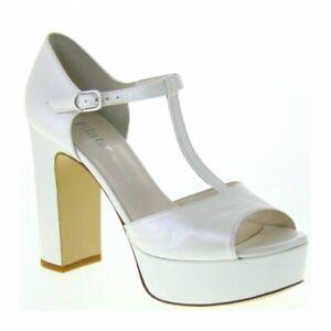 Scarpe Sposa Ebay.Scarpe Sposa Elata S2703 Charlestone Pelle Piuma Bianco Tacco 11