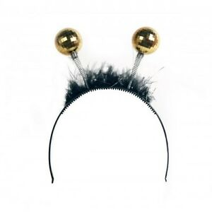 Deely-Boppers-Tiara-with-Gold-Disco-Balls-and-Black-Feathers-Adult-One-Size