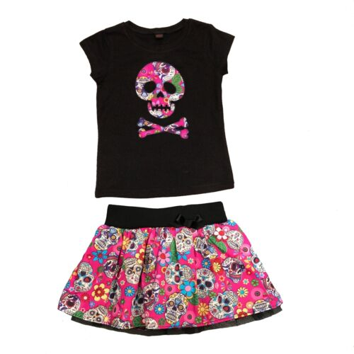Pink Mexican Sugar Skull Baby Skirt & Top Punk, Rock Metal Alter