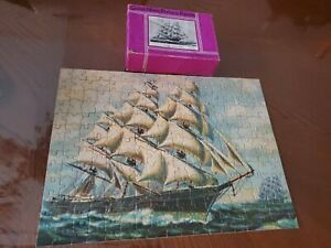 Vintage-Jigsaw-Puzzle-Clipper-Ship-James-Bains-Saalfield-COMPLETE