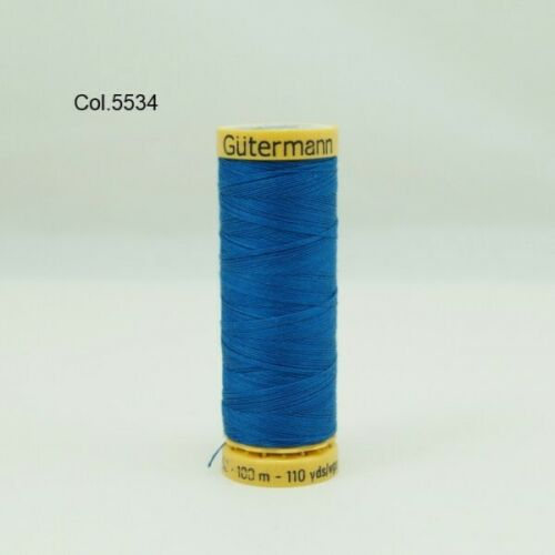 2 Gutermann Sewing Thread 100/% Natural Cotton 100m Reels In 44 Colours