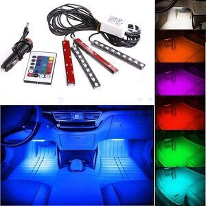 4x-9LED-Control-Remoto-Coche-Interior-Atmosfera-Neon-Tira-Luz-Impermeable-SA