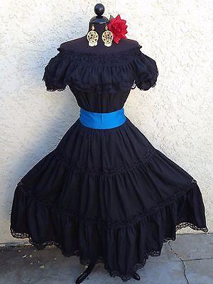MEXICAN DRESS FIESTA, 5 DE MAYO,DAY OF THE DEAD OFF SHOULDER W/RUFFLE 2 PIECE