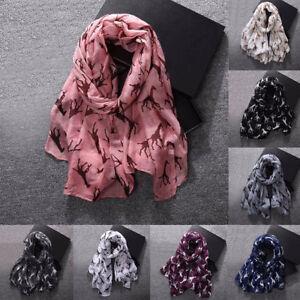 Fashion-Women-039-s-Voile-Giraffe-Printed-Pattern-Long-Soft-Scarf-Warm-Wrap-Shawl