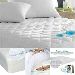 100-Coton-Impermeable-Matelasse-matelas-type-drap-housse-Simple-Double-King