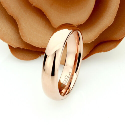 Personalized Women/'s Rose Gold Tungsten Wedding Ring Band Promise Ring 6mm