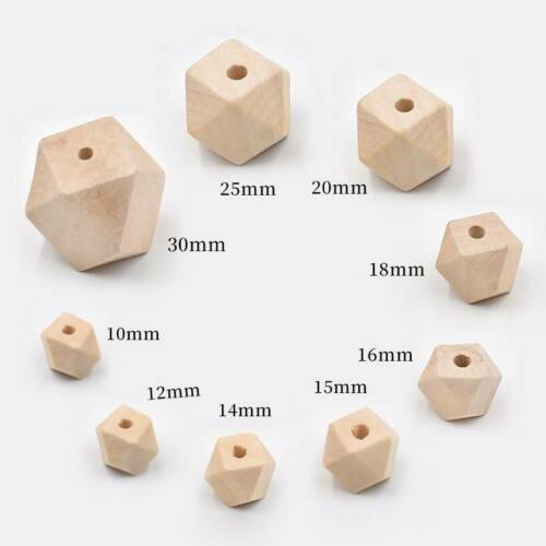 Hexagon Faceted Natural Wood Loose Beads lot 10mm 12mm 14mm 16mm 20mm 25mm 30mm