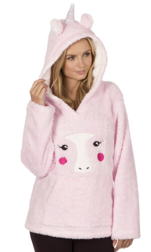 Ladies Hooded Fleece Snuggle Top Bed Jacket Fun Novelty Animal Designs Womens