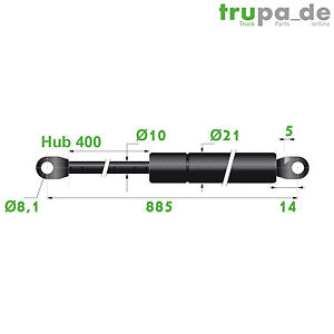 Gasdruckfeder-Lift-Haubenheber-800N-Hub-400-Laenge-885-10-21-mm-Made-in-EU