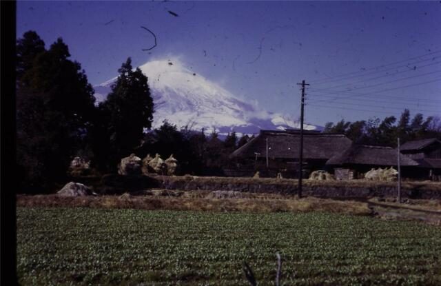 35mm Colour Slide- Mount Fuji with Farm in Foreground-  Japan 1968