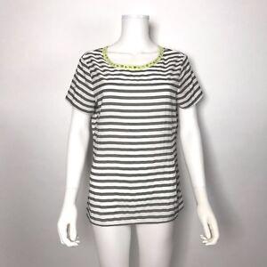 1d3b02d2616 Ann Taylor LOFT Blouse Size Medium Gray White Stripe Rhinestone ...