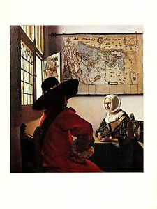"""1981 Vintage VERMEER """"OFFICER AND LAUGHING GIRL"""" LOVELY COLOR offset Lithograph"""