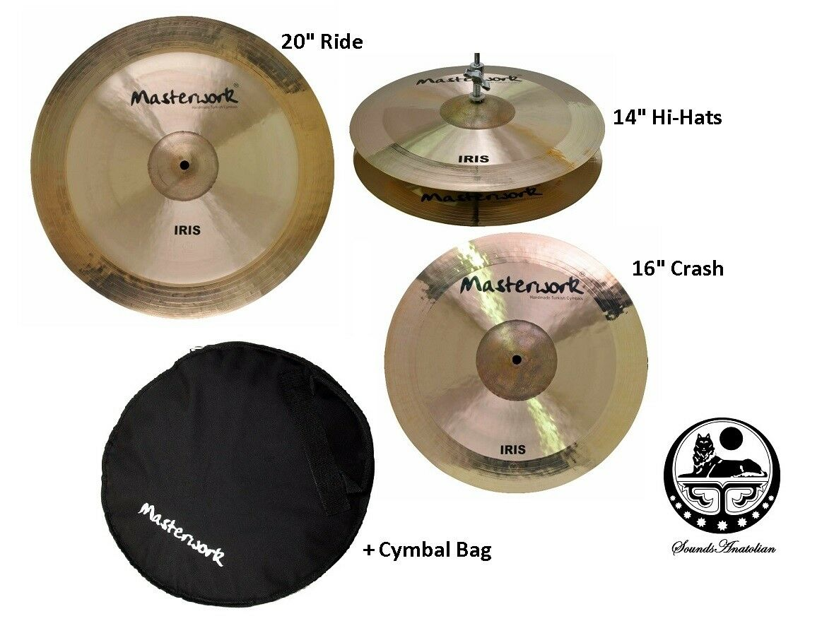 Masterwork Cymbals Iris Cymbal Pack Box Set (14HH-16CRS-20R Tasche)