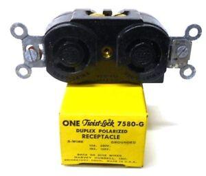 hubbell twist lock duplex polarized receptacle 3 wire 7580 g ebay