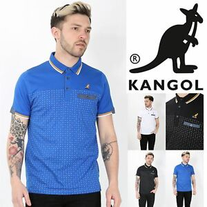 Kangol-Mens-Collar-Short-Sleeve-Dots-Stripes-Front-Buttons-Stretchy-Polo-T-Shirt