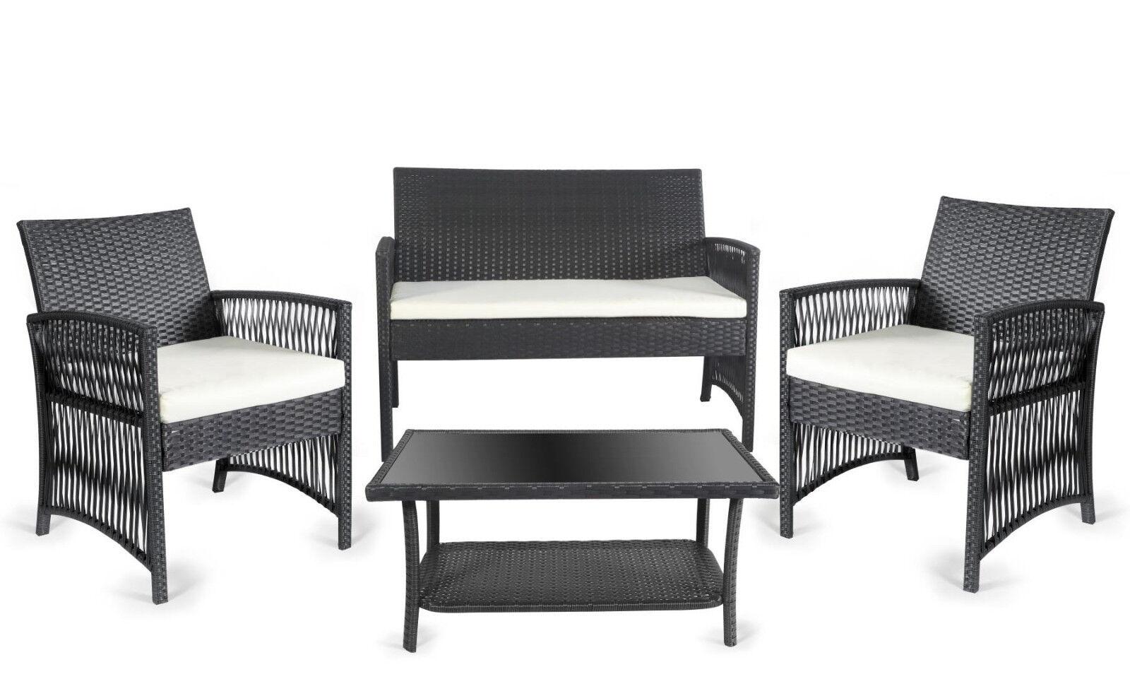 Bielbet Gartenmöbel-Set 7-teilig Sitz-Garnitur TASOS Stahl Stahl Stahl Kunststoff schwarz 3566c2