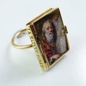 18K Gold Georgian Ring Enamel Miniature Holy Bible ...