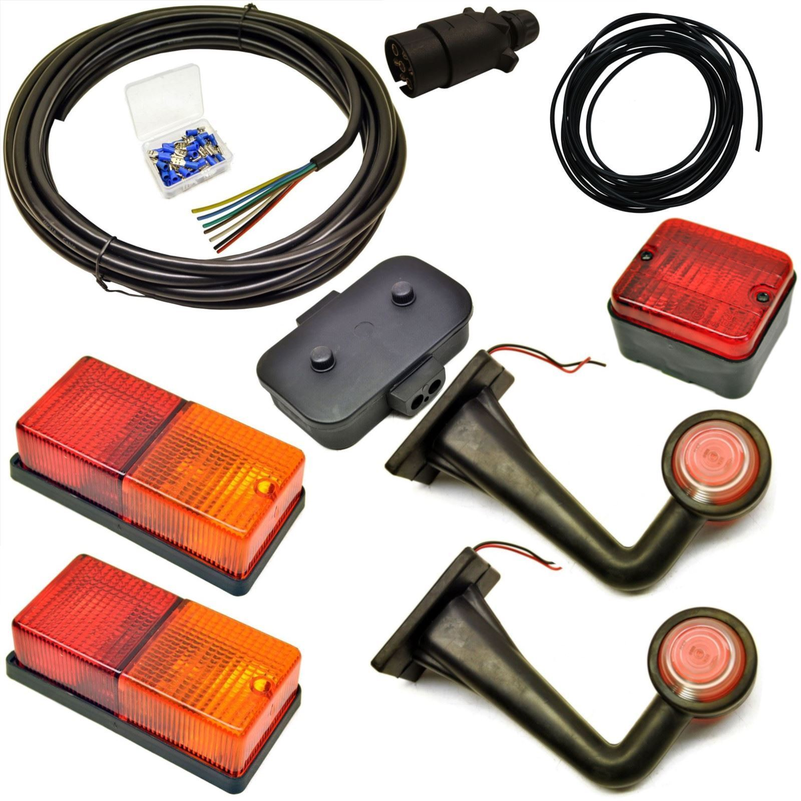 10m Kit de cableado de luz de remolque luces posteriores, delantera marcador lateral, Enchufe, Caja de empalme