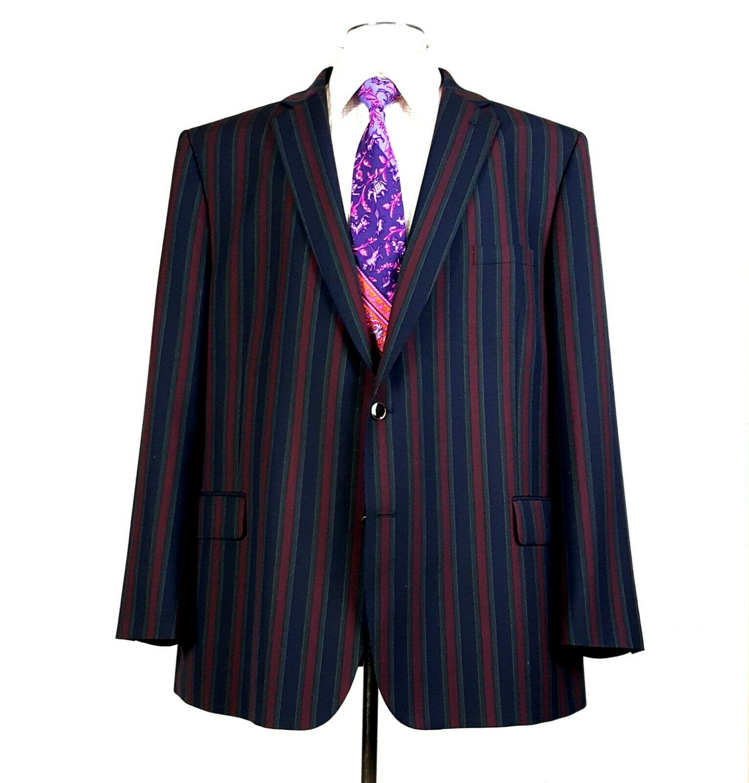 NEW Brook Taverner 50R Richmond Striped Boating Blazer Maroon Blau Grün