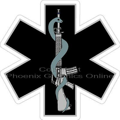 Tactical Medic Star of Life Weapon Rescue SWAT EMT EMS Paramedic Decal Sticker