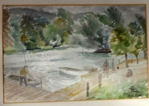 Original-Old-Watercolour-Painting-Of-A-River-Signed-A-H-HALL-43