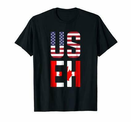 Black USEH America Canada Flag T-Shirt Funny American Canadian Tee 100/% Cotton